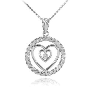 Sterling-Silver-Roped-Circle-Double-Heart-with-CZ-Pendant-Necklace