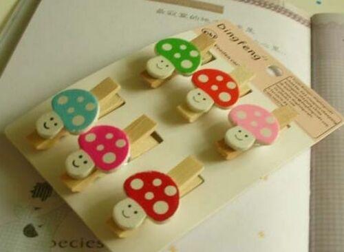 6pc Photo Picture Paper Card Cute mini Little /'Mushroom/' Pattern Wooden clips