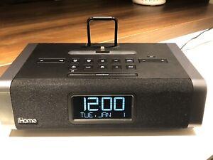 iHome-Aux-in-FM-Radio-Allarm-Clock-IDL45-Nero-Lighting-Dock-Not-Working