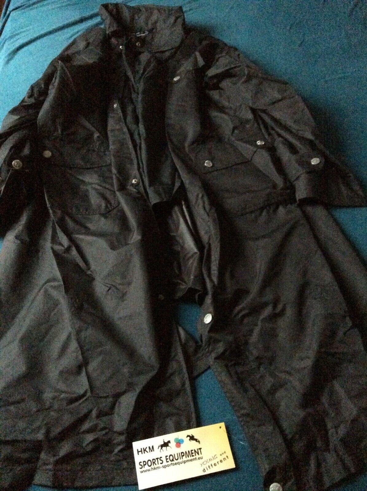 Outdoor Reit Regen Mantel, HKM, schwarz, faltbare Kapuze, Gr. XL, Unisex - NEU