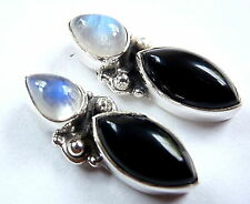 Black Onyx Moonstone Stud Earrings 925 Sterling Silver Marquise Round 8ct New