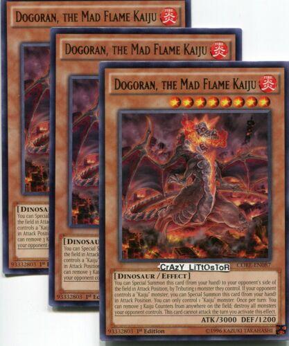 THE MAD FLAME KAIJU 1ST ED SILVER RARE NM//MINT CORE-EN087 3 X YU-GI-OH DOGORAN