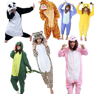 pyjama polaire femme homme combinaison chaud capuche molleton hiver forme animal ebay. Black Bedroom Furniture Sets. Home Design Ideas