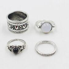 4Pcs/Set Silver Punk Vintage Ring Womens Retro Finger Rings Boho Style Hot