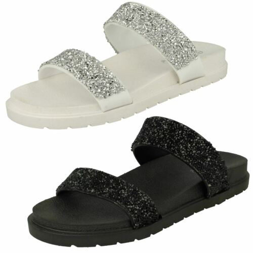 Ladies Spot On Slip On Sandals