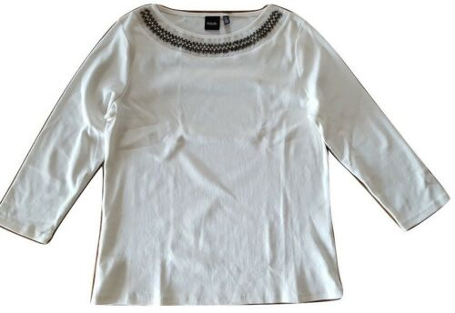 NWT Rafaella Women/'s White Embellished Scoop Neck Long Sleeve Top