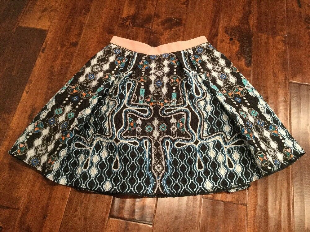 Peter Pilotto Multi-color Crinkle A-Line Patterned Skirt, Size 6 (US) 10 (UK)