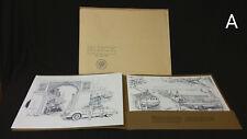 NOS Original Buick Riviera 1971 1963 1949 Dealer Portfolio 3 Charcoal Prints