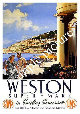 Wall art Weston Super mare : Vintage Railways advert poster Reproduction.