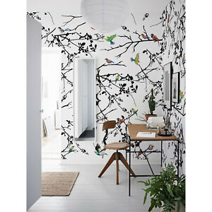 Exotic Wall Stickers Removable Wall Decals Tropical Wallpaper Parrot and Plants Wallpaper Wallpaper -A077 Wall Paper Removable