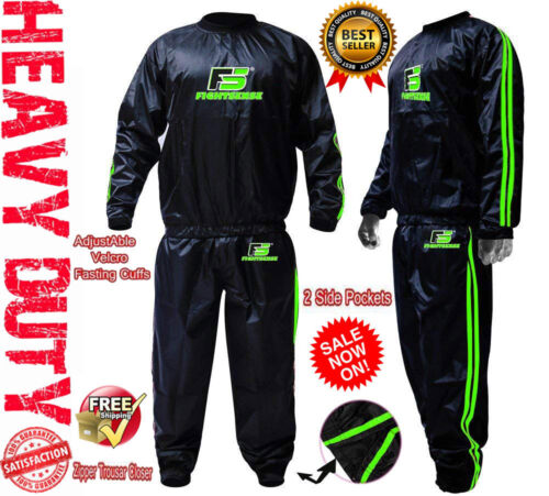 Green Sauna Sweat Suit MMA Boxing Track Weight Loss Slimming Fitness Exercise