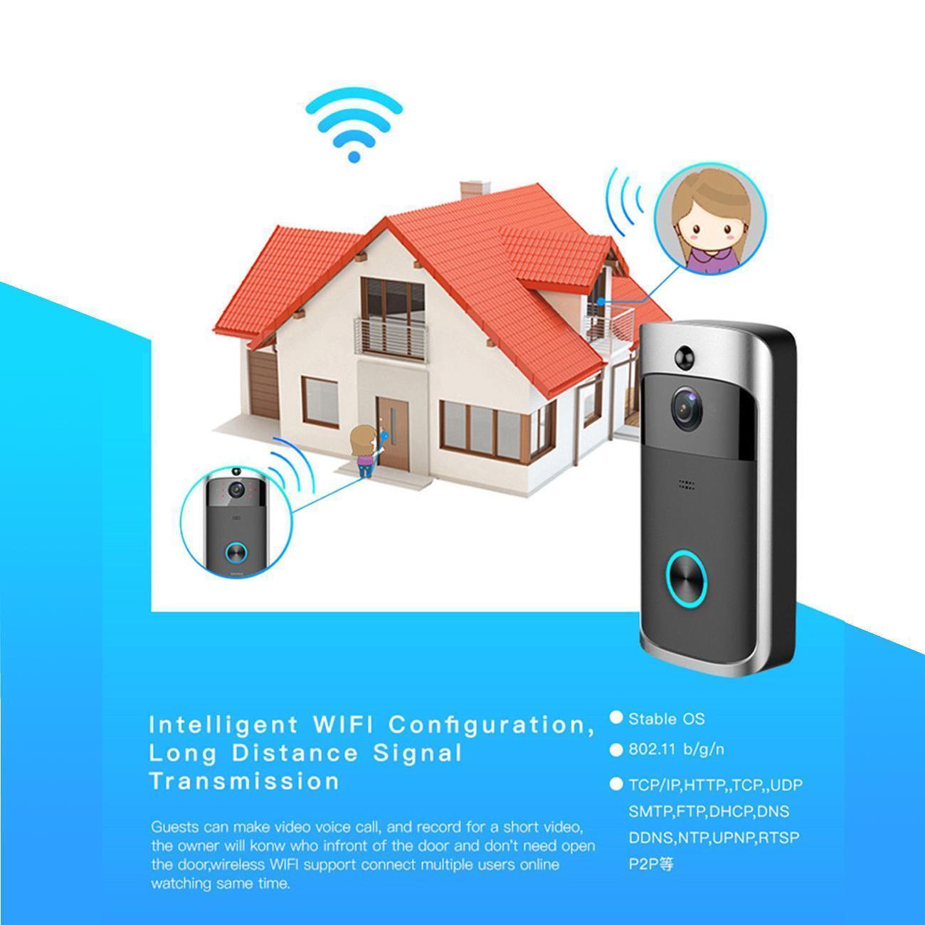 Wireless WiFi Visual Doorbell Video Smart Door Phone Ring Intercom Home Security