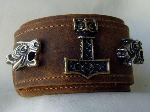 Lederarmband Thor`s Hammer Oseberg Neu Rindsleder Armband Leder Farbe hellbraun