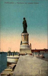 Port-Said-B-r-Sa-d-Agypten-Egypt-AK-1910-Statue-Monument-Ferdinand-de-Lesseps