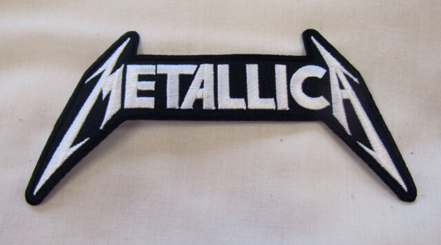 METALLICA  WHITE MEDIUM Iron On Sew On Embroidered Patch   Rock heavy metal