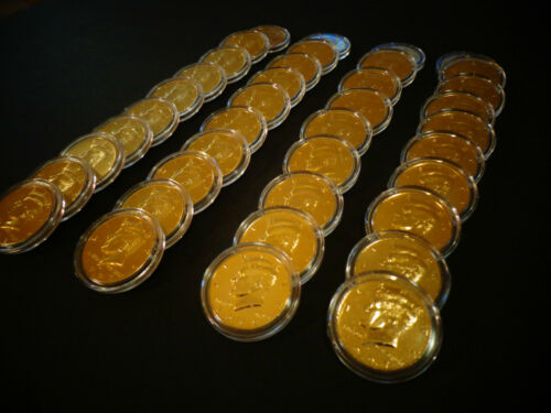 AIR TIGHT  CAPSULE LOT OF 10* 24 KT GOLD PLATED JF KENNEDY HALF DOLLAR COIN SET