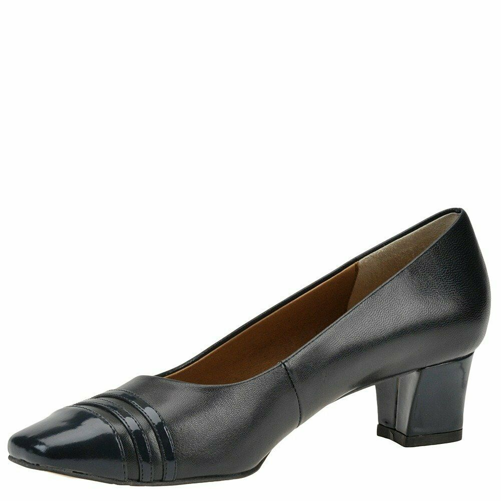 Auditions Womens classy Leather Cap Toe Classic Pumps, navy, Size 7.5 US / 5.5 U