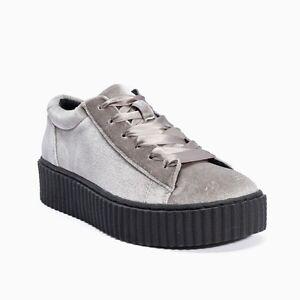 Truffle Cent 26 Grey Velvet Creepers Ladies Vegan Shoes