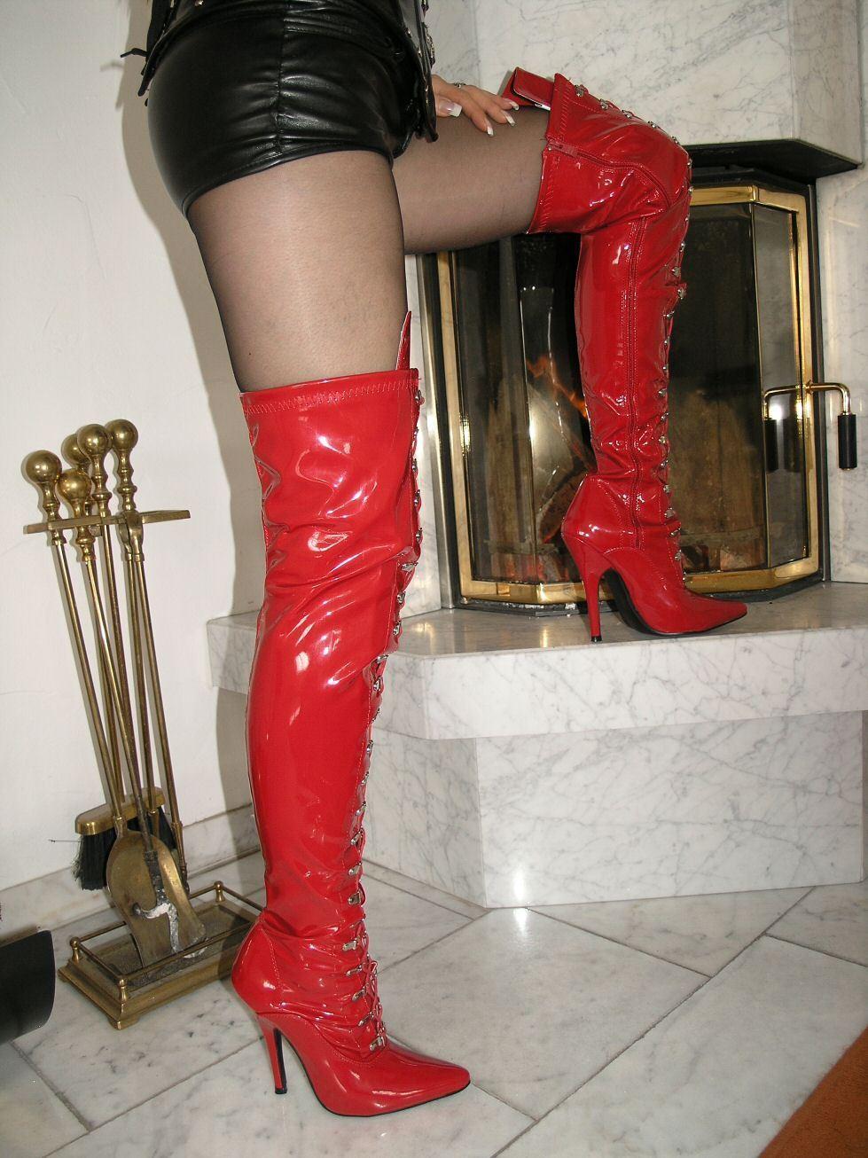 Vernis stiletto High Heels Bottes Overknee rouge 46 stiletto paragraphe Lacets
