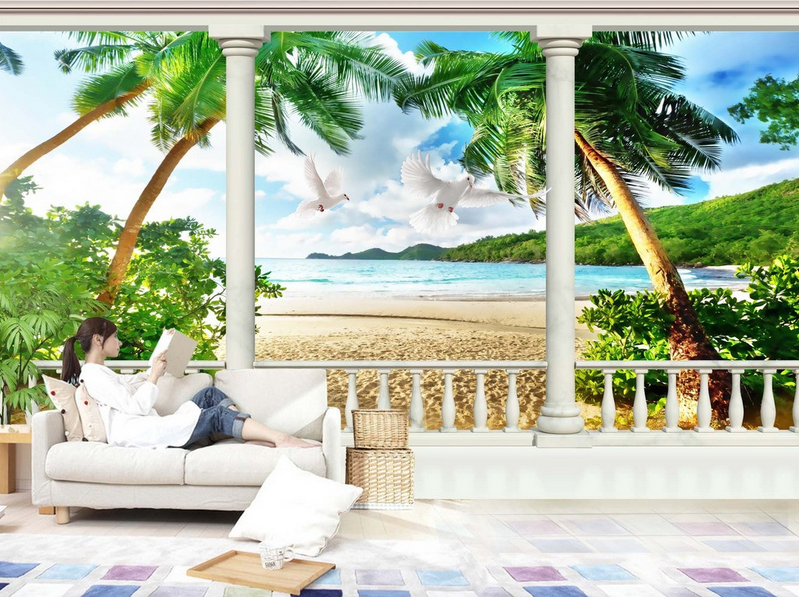 3D Beach Doves 5047 Wallpaper Murals Wall Print Wallpaper Mural AJ WALL UK Kyra
