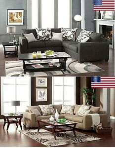 2 Colors Sectional Sofa Made In Usa Transitional Style Living Room W