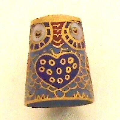 Fingerhut Eule Uhu 881eu Cloisonné 24ct Vergoldet Thimbl Horned Owl Rélief Antik
