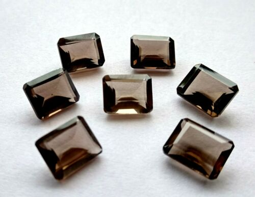 Lot Natural Smoky Quartz 7X9 mm Octagon Faceted Cut Loose Gemstone AB01