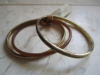 With Tags Set Of Three Cuff Bracelet Bangles From Monet Gold Tone & Acrylic