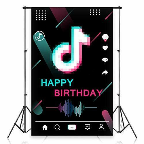 Heboland TIK Music Tok Backdrop Birthday Party Decorations for Girls Sweet 16th