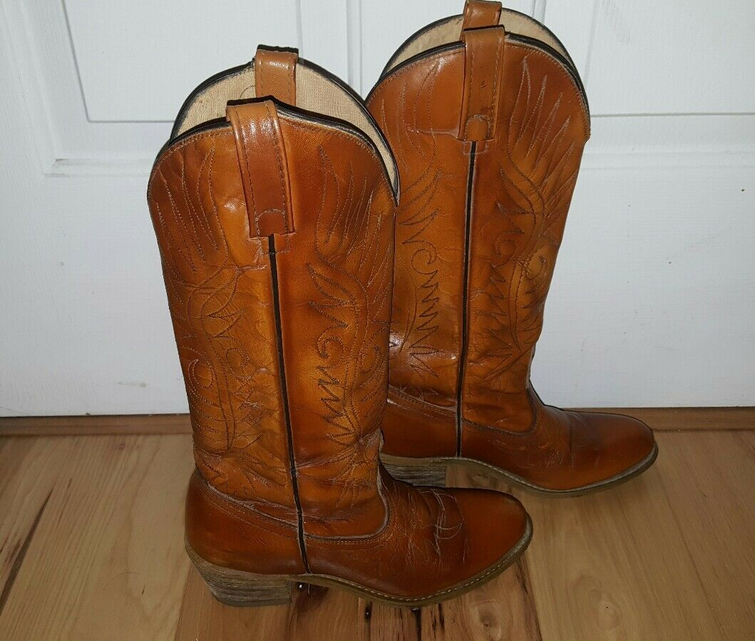 Vintage Damenschuhe ACME Sz 7.5N Saddle Braun Leder Cowboy Stiefel Stacked 3.25