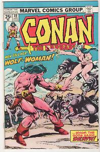 Conan-the-Barbarian-49-VF-Wolf-Woman-1975-Marvel-Buscema-Giordano-Roy-Thomas