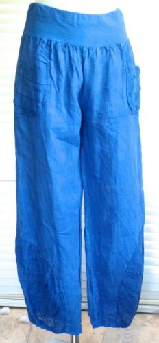 Joelle Fabulous quirky style Italian linen trousers with pleat detail