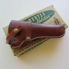 Vintage Hunter Brown Leather Right Hand Belt Holster Style No. 1100 Size 45-Box