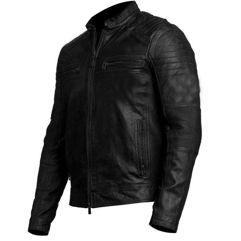 Para Hombre Biker Vintage Moto Chaqueta De Cuero Negro Envejecido  Cafe Racer  los nuevos estilos calientes