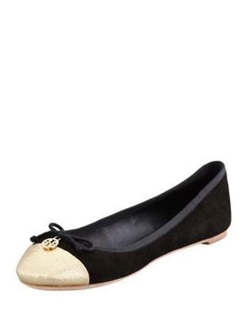 Tory Burch CHELSEA Black Suede gold Cap Toe Ballet Ballerina Flats shoes  195