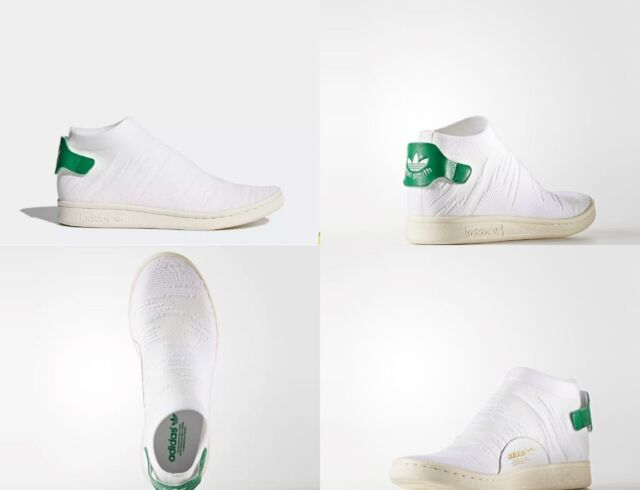uk availability 36065 99cc7 adidas Stan Smith Sock PK White / Green Womens Size 8.5 US By9252