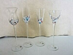 Long-Stem-Cordial-Liqueur-Aperitif-Glasses-Set-of-4-Assorted-Shapes-Hungary