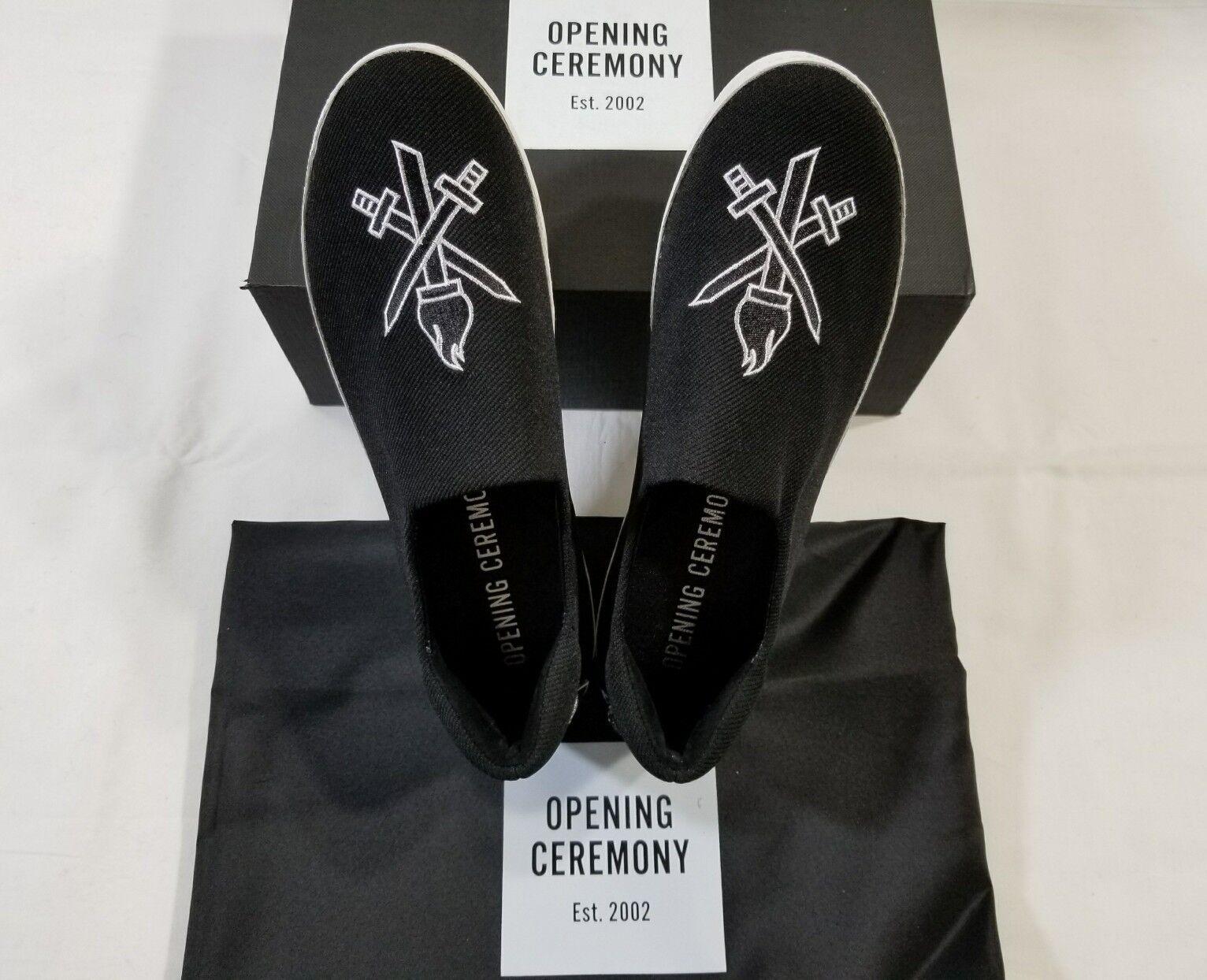 NIB Opening Ceremony Cici Varsity Platform Slip On Sneaker Black Size 38  250