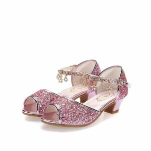 f0f3c3655310 Girls High Heels Sandals Pink Dress Gold Princess Dance Shoes Size ...