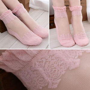 af93a553b6 Details about 1-4 Pair Pink Floral Lace Elastic Ruffle Top Ankle Socks  Ultra Thin Sheer Cotton