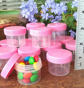 24-Jars-Holds-1-ounce-to-the-top-Plastic-Container-PINK-Caps-Lids-Tops-4304-USA