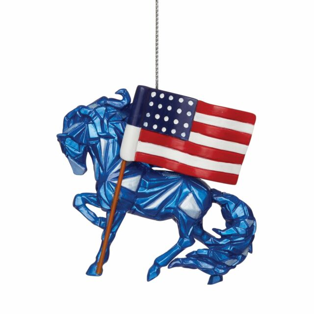 Enesco Trail of Painted Ponies Wild Blue Remembering 9/11 Hanging Ornament, 2.6