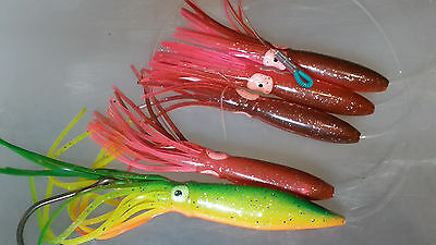 "Squid Daisy Chain Offshore Trolling Lure Tuna 6 in zucchini w 9/"" pink stinger"