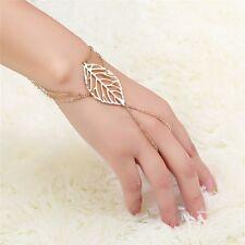 Pop Celebrity Chain Leaf Pendant Tassel Bracelet Slave Finger Ring Hand Harness
