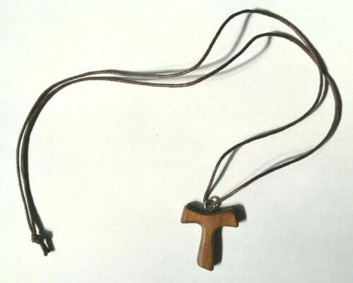 Collana Tau San Francesco Rosario Crocifisso Legno di Bosco Uomo Donna+Sacchetto