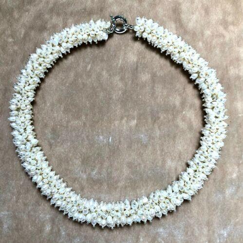 """16/"""" Blanc eau douce perle /& Argent Sterling Cluster Collier Tour de cou"""