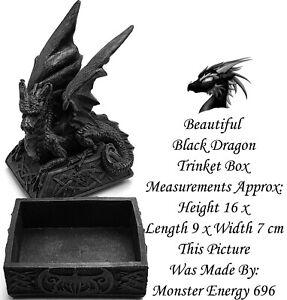 Details about 💙 Black Vtg Gothic Celtic Knot Dragon Trinket Jewellery Box  Ornament Statue GOT