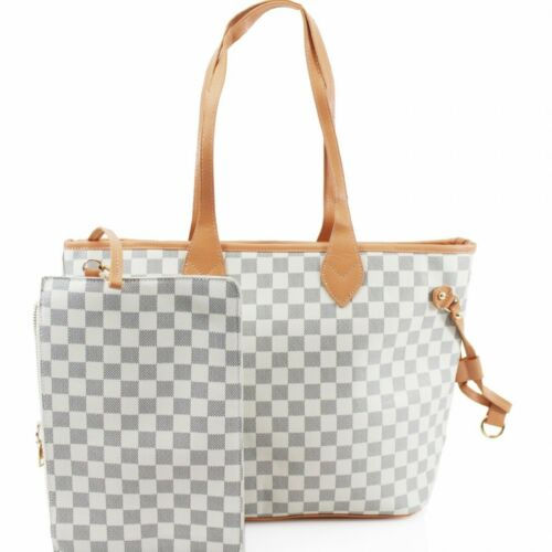 Women Beige Check Handbag Shoulder Messenger Tote Ladies Crossbody Satchel Bag