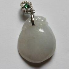 100% Natural (Grade A) Untreated Icy White Jadeite JADE Peach Pendant #P422