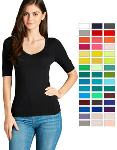 a4234265 Women's Basic V-Neck Elbow Sleeve T-Shirt Short Sleeve Stretchy Top ...